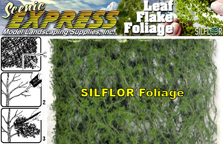 "foliage offers a new wider range of useful colors. Experienced modelers realize that there are a myriad of colors in nature and has come to the rescue by producing a layered foliage that adds new dimension to scale scenery. Refresh otherwise dull, lifeless scenes with a fresh application of Foliage. Dark conifer tone. Each sheet measures 11"" x 5½""."