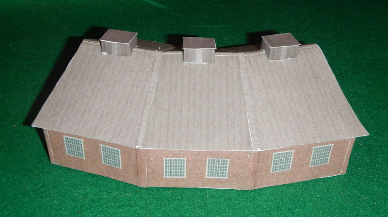 picture relating to Printable Model Railroad Buildings known as Generate your private N Scale 3 Bay Style Practice Preset Roundhouse.