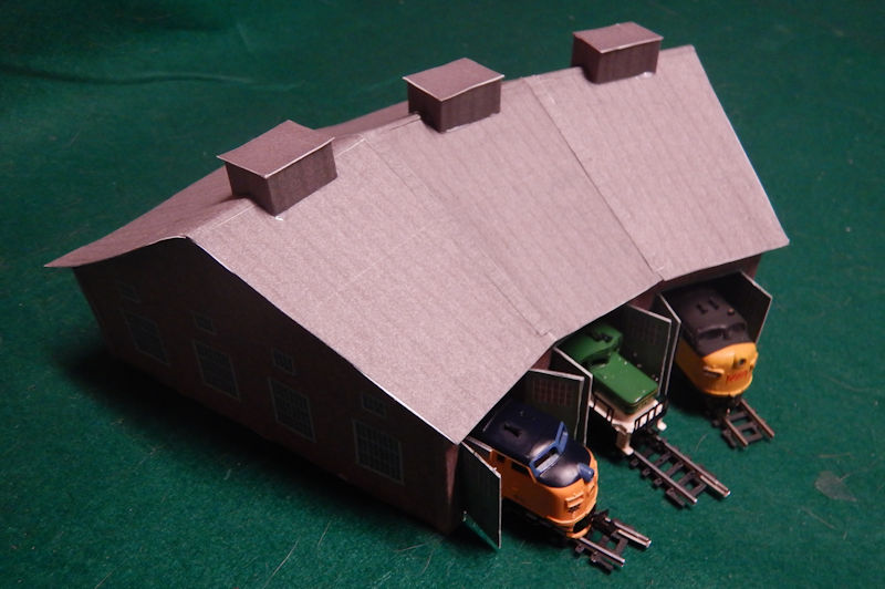 graphic about Printable Model Railroad Buildings called Generate your personalized N Scale 3 Bay Style Educate Fastened Roundhouse.